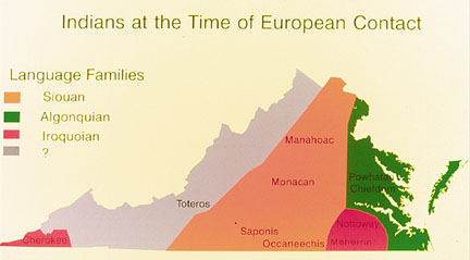 map of Virginia showing shaded language and culture group regions