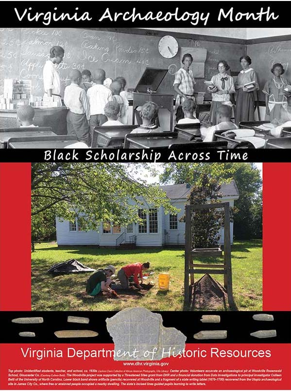 Historic photograph of African American students and a contemporary photo of archaeology at a school site.